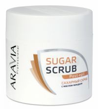 Сахарный скраб с маслом миндаля - Sugar Scrub Post Epil - Aravia-Professional - 300 мл.